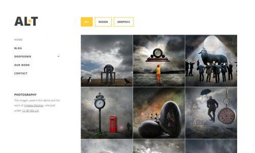 Alternate, filterable portfolio WordPress theme