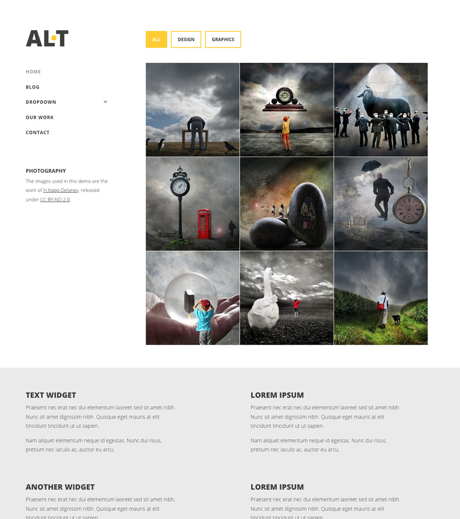 Alternate, filterable portfolio WordPress theme