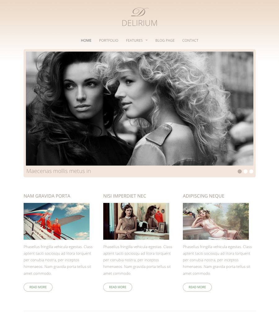 Delirium, fashion and wedding WordPress theme