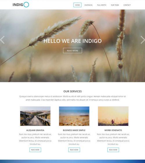 Indigo, business and non-profit WordPress theme