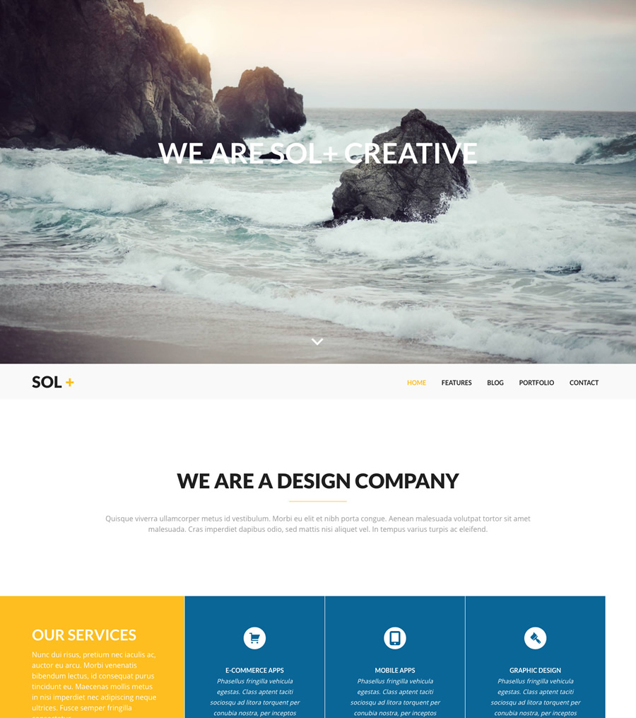 Sol, creative agencies WordPress theme