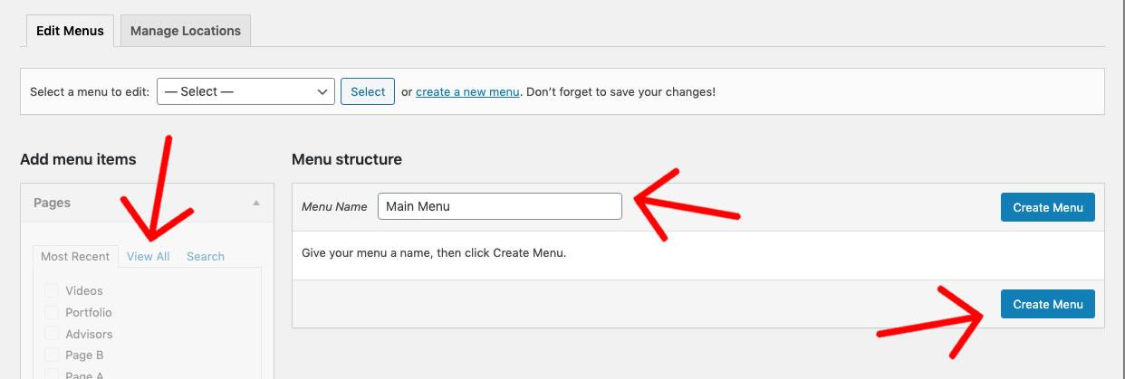 Create WordPress Menu