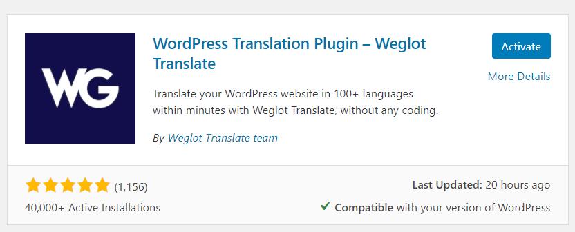 Activate Weglot
